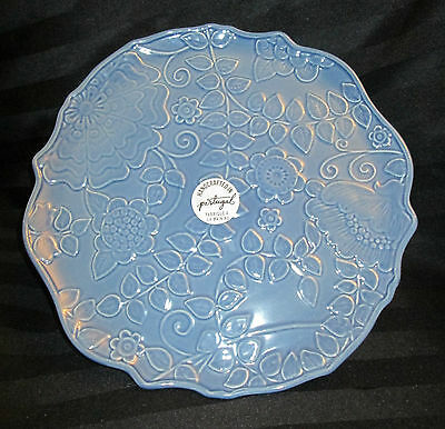 """Handcrafted in Portugal - Beautiful Blue Floral Cake Stand - 13""""  NWT"""