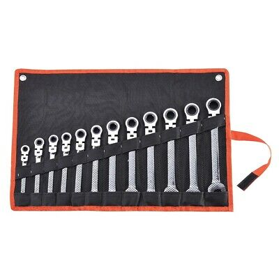 12 pc 8-19mm SAE Metric Flexible Head Ratcheting Wrench Spanner Combo Tool Set