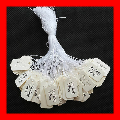 "NEW 500 Durable Paper Card ""Sterling Silver"" Tags Labels Tie Swing"