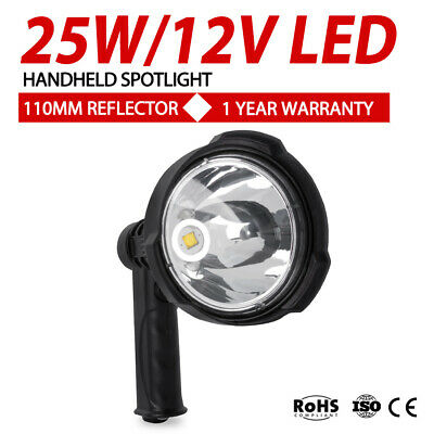 25W CREE LED Handheld Spot Light Rechargeable Spotlight Hunting Shooting 12V