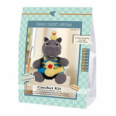 Go Handmade Helmut The Hippo 20cm Crochet Needlework Complete Kit!