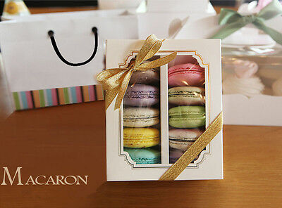 Pastry Cake Macaron Cookies Boxes White Tray Insert Window Golden Frame UK