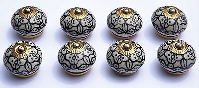 Antique White round Black decoration (brass) ceramic porcelain pulls knobs x 8