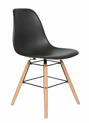 ts-ideen Design Chair Lounge Retro Style Black and Beechwood