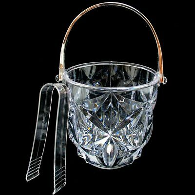 Clear Acrylic Ice Bucket Bar Tong Container Plastic Wine Chiller Cooler Bpa Free