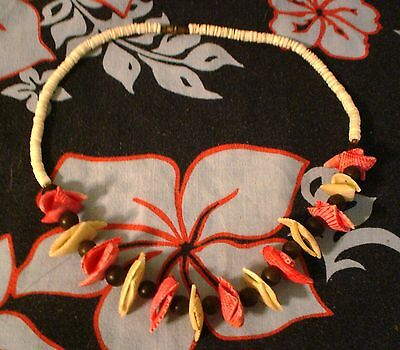 "White & Pink Clam Shell Puka Shell Necklace 18"" Surfer Style"