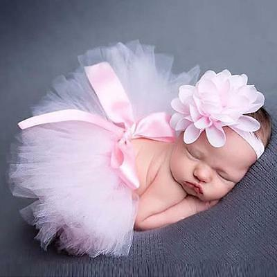 Newborn Headdress Headband Flower Tutu Skirt Baby Girls Photo Photography Outfit