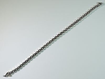 "Beautiful Genuine Diamond 1 CTTW 14K White Gold XOXO Design 7"" Tennis Bracelet"
