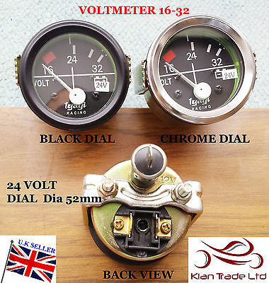 "2"" 52Mm Car Universal 16-32V Voltmeter Clock Black Chrome Bezel 24V Dial Gauge"