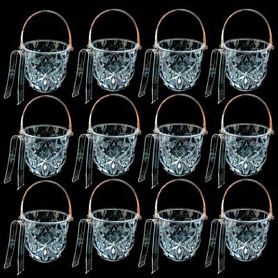 12 Clear Ice Bucket Bar Container Plastic Wine Chiller Tongs Cooler Bpa Free 1L