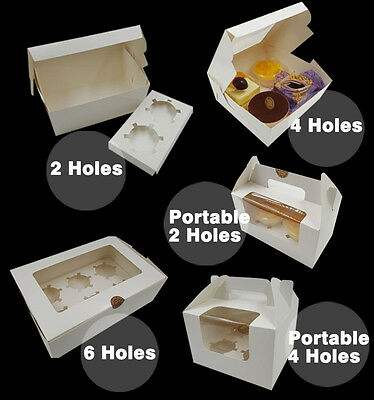Pastry Cake Boxes Muffin CupCake Cookies Window White Box INCLUDES INSERT TRAY