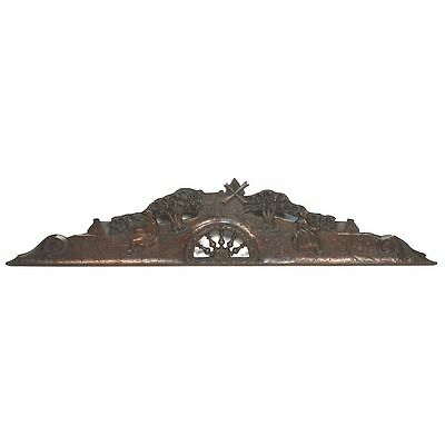 Antique Carved Chestnut French Brittany Architectural Salvaged Crest Pediment