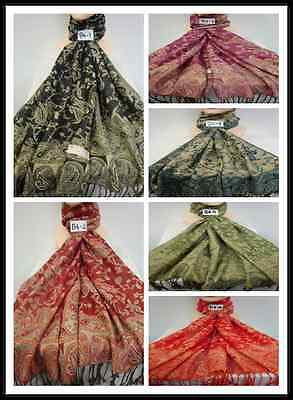 Wholesale 6Pcs $4.00 Each 2Ply Thick Metallic B4 Reservible Pashmina Wrap Scarf