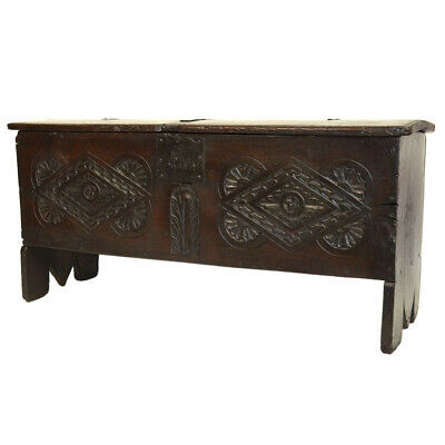 Antique 17th Century English Carved Oak Blanket Trunk Chest Geometric Designs