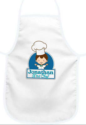 PERSONALISED BOYS APRON Mini Chef design - NEW! Gift- Any Name/Text