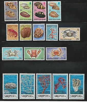 Gilbert: Algerie, Shqiperia , 3 good sets, mint marine life thematic. GIL01