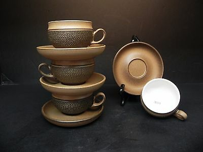 Denby Tan and Brown Cotswold (set of 4) Cups and Saucers  ..