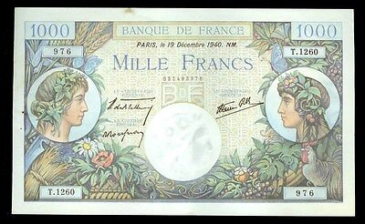 1940 Bank Of France 1000 Francs Note Cu Condition