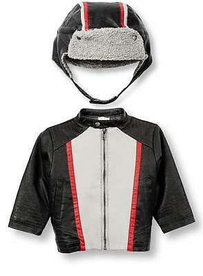 Le Top Moto-X Baby Boys Faux Leather Jacket and Hat Racing Racer Set Youth New