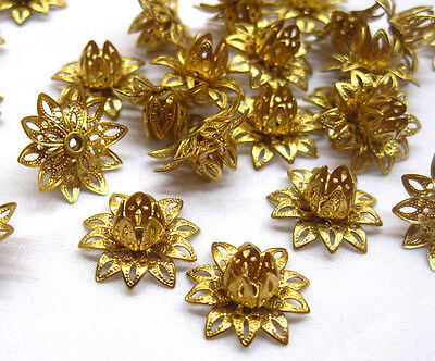 Golden Lotus Raw Brass Filigree Findings Religious Flower Supply f060(10pcs)