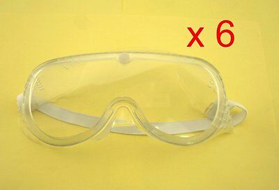 6pc New Vented Safety Goggle Glass Eye Protection Protective Lab Anti Fog Clear