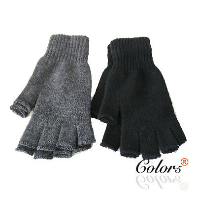 Color5 Unisex Men Women Winter Knitted Fingerless Gloves Plain Colour Large Size