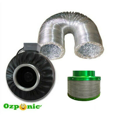Hydroponics 4 Inch Inline Centrifugal Duct Fan Ducting Carbon Filter Kit