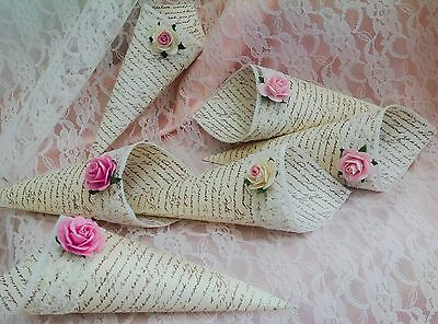 6 Vintage Style Lace&Rose Confetti Cones - with/without dried petal confetti