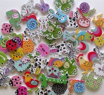 Mixed Wooden Animal 2 Hole Buttons/Various Cols/Craft/Sewing/Var Qty