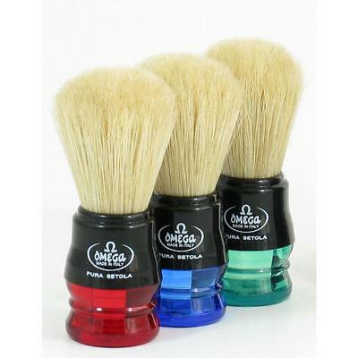 1 x Red OMEGA 100% Pure Bristles Shave Brush -  Made In Italy Variety of Colours
