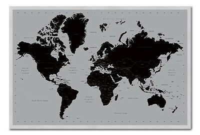 World Map Poster Contemporary Black & Grey Style  Framed Cork Pin Board