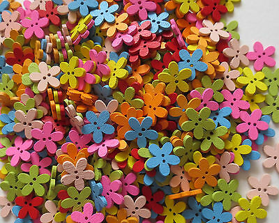 Mixed Wooden 2 Hole Flower Shaped Buttons/craft/sewing/15Mm/var Qty