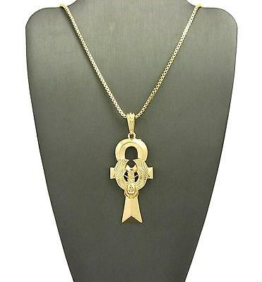 "Egyptian Amulet Scarab Ankh Pendant 24"" Various Chain Hip Hop Necklace XSP478"