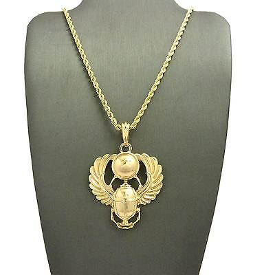"Egyptian Popular Amulet Scarab Pendant 24"" Various Chain Hip Hop Necklace XSP477"