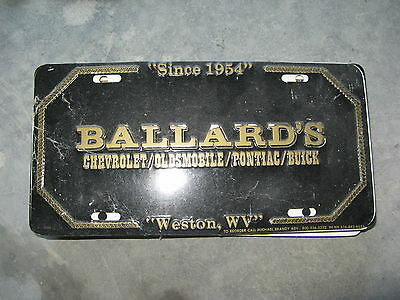 Ballards Chevrolet Oldsmobile Buick Weston West Virginia  Booster License Plate