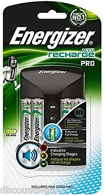 Energizer Pro Recharge AA/AAA Battery Charger + 4 2000 mAh AA Rechargeable Batts