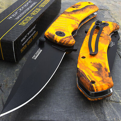 "8"" TAC FORCE EDC ORANGE CAMO SPRING ASSISTED TACTICAL POCKET KNIFE Blade Assist"