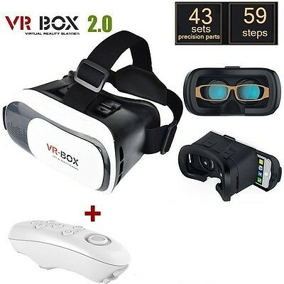 VR Box Virtual Reality 3D Headset Glasses w/ Remote for Google Android & iPhones
