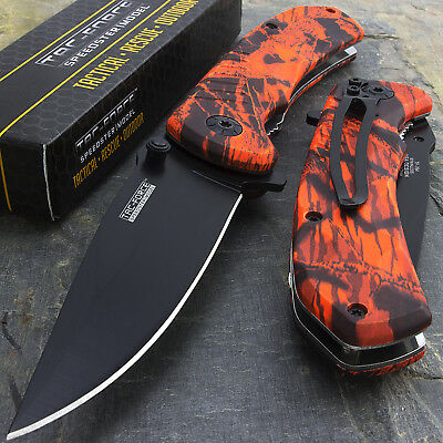 "8"" TAC FORCE EDC RED CAMO SPRING ASSISTED TACTICAL POCKET KNIFE Blade Assist"