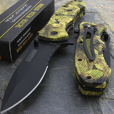"""8"""" TAC FORCE FALL CAMO SPRING ASSISTED TACTICAL POCKET KNIFE Blade Assist Open"""
