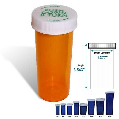 30 Dram Rx Prescription Vial, Safety Cap Pill Vial, Amber, 50/Box