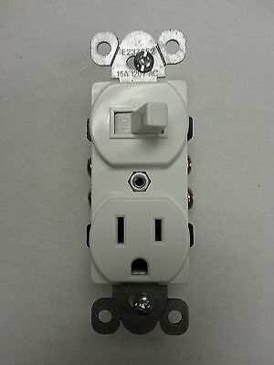 (1 pc) NEW Toggle Switch with Outlet Device Duplex Combo Single Pole White