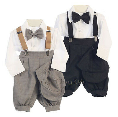 New Baby Toddler Boys Light Grey Charcoal Knickers Vintage Suit Outfit Christmas