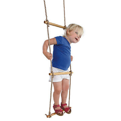Kids Climbing Cargo Net Rope 5 Wooden Dowels Outdoor/Indoor Play Ladder Obstacle