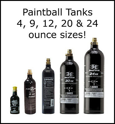9oz, 12oz, 20oz or 24oz CO2 Paintball Tank - Spyder JT Pure Energy Empire