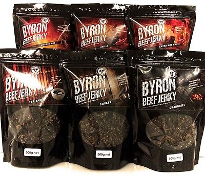 Byron Beef Jerky 4 x 500g bags. Choose your flavours