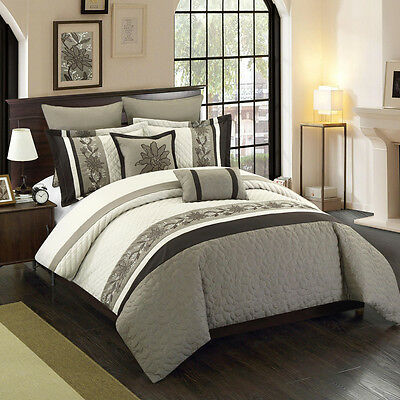 12 Piece Antwerpen Beige/Taupe/Coffee Bed in a Bag Set