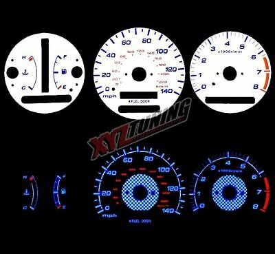 BLUE Reverse El Indiglo Glow White Gauge Dash Face For 97-01 Camry / Solara AT