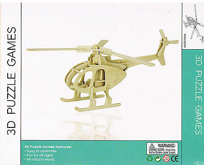 NEW 3D puzzle games, HELICOPTER, wood model building