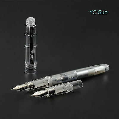 2016 Fresh Model Wing Sung 659 Transparent Fountain Pen With 2 Nibs Silver Clip
